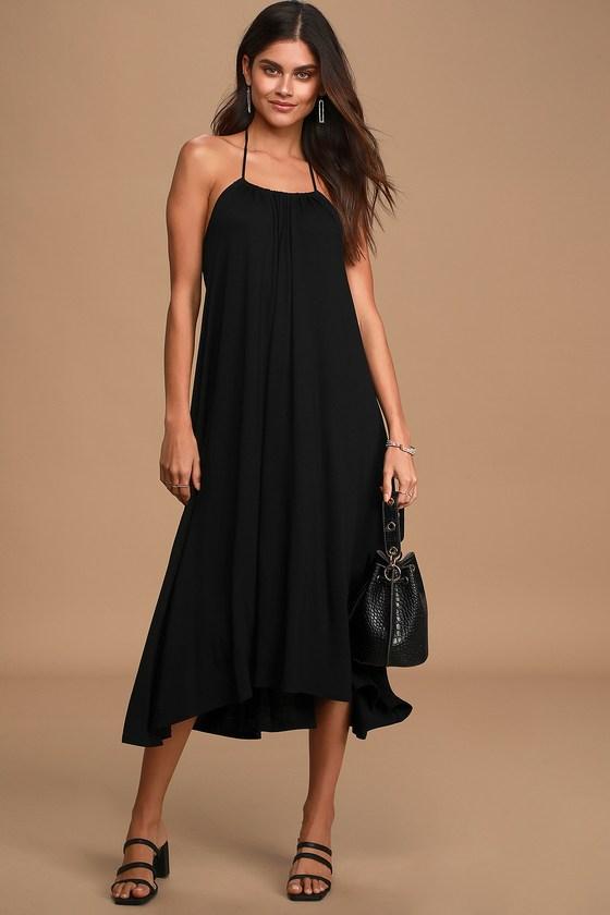 Black Swing Dress - Halter Dress - High