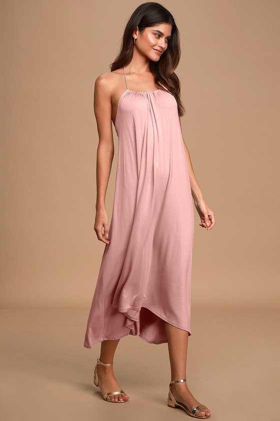 Casual Cutie Washed Mauve Pink Halter High-Low Midi Dress