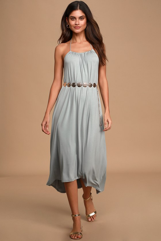 70s Dresses – Disco Dress, Hippie Dress, Wrap Dress Casual Cutie Washed Grey Blue Halter High-Low Midi Dress - Lulus $45.00 AT vintagedancer.com