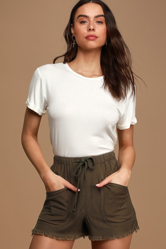 Draw You In Olive Green Drawstring Shorts