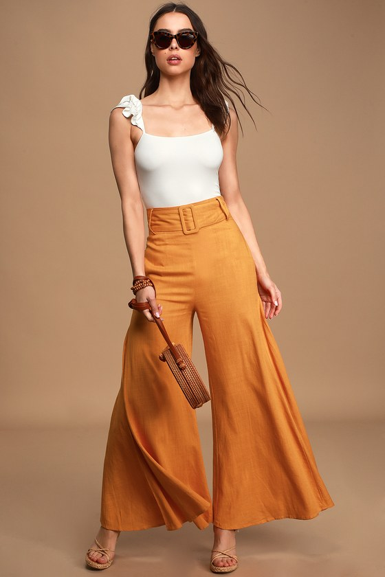 Make My Move Orange Belted Wide-Leg Pants