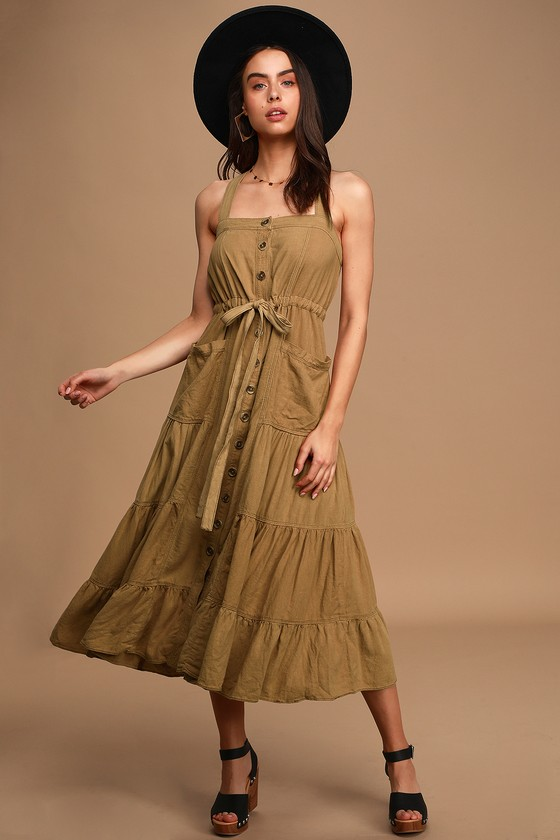 Free People Catch the Breeze Tan Button-Front Tiered Midi Dress
