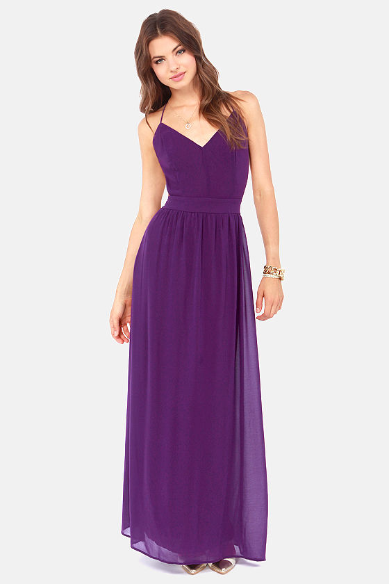 Gold with purple bodycon maxi dress xile