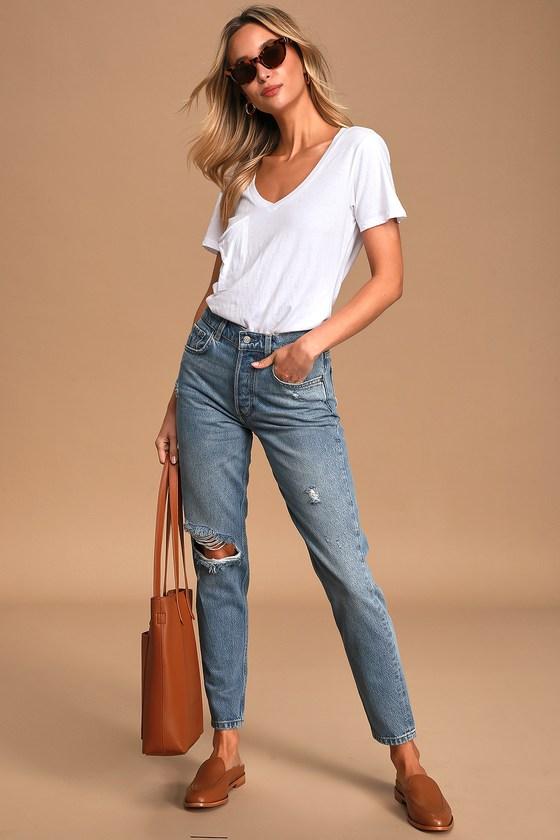 Boyish The Billy Medium Wash High-Rise Distressed Skinny Jeans
