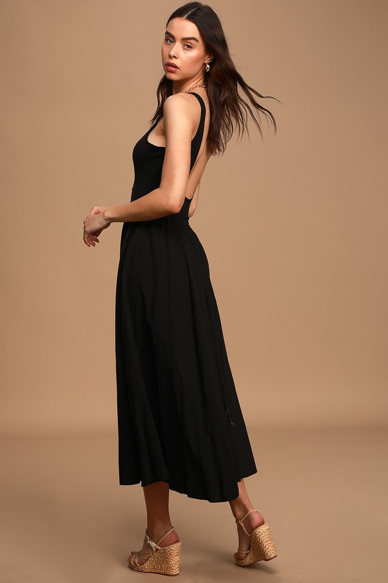 Free People Emily's Black Sleeveless Scoop Back Midi Dress