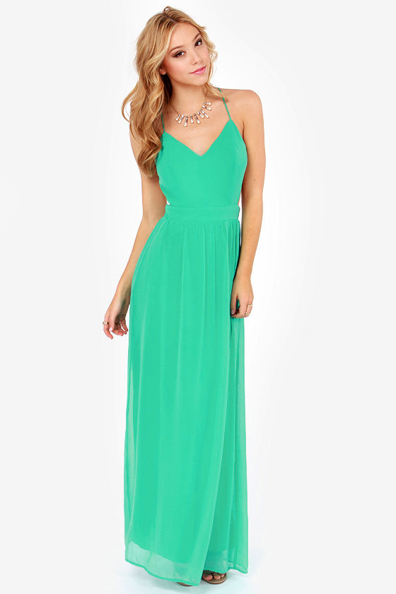 LULUS Exclusive Rooftop Garden Backless Sea Green Maxi Dress at Lulus.com!
