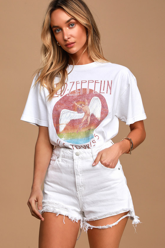 Dusters White High Waisted Distressed Denim Cutoff Shorts