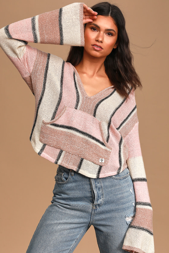 Billabong Baja Beach Beige Multi Striped Hooded Sweater Top
