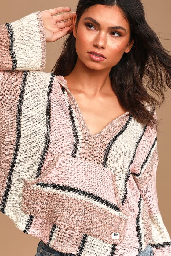 Baja Beach Beige Multi Striped Hooded Sweater Top
