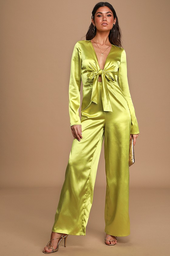 70s Jumpsuit | Disco Jumpsuits, Sequin Rompers Be So Bold Lime Green Satin Long Sleeve Tie-Front Jumpsuit  Lulus $85.00 AT vintagedancer.com