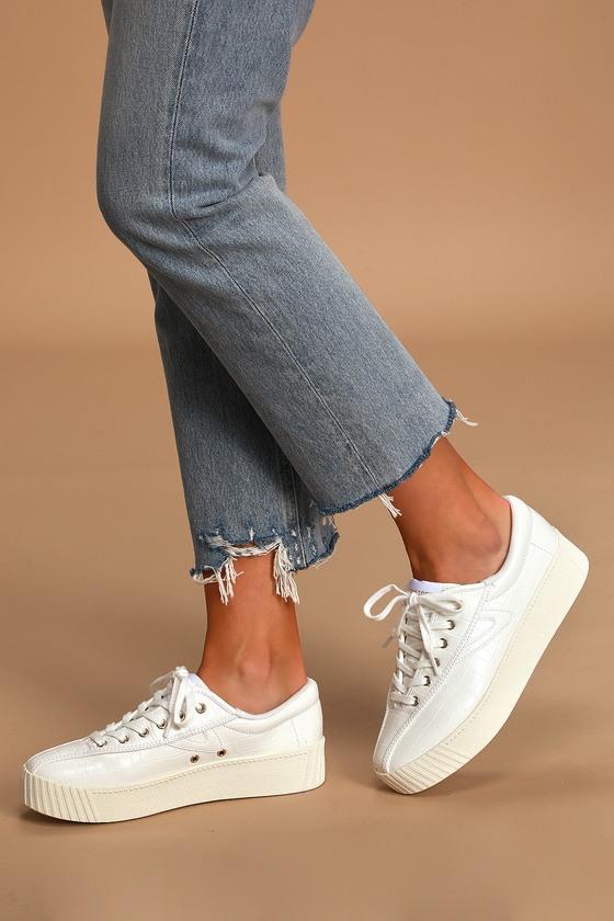White - Crocodile Sneakers - Platform