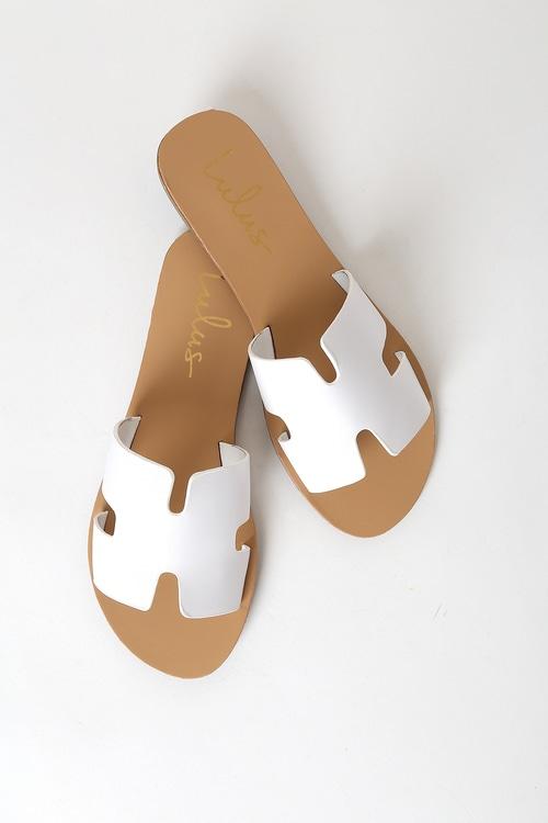 Saxon White Slide Sandals