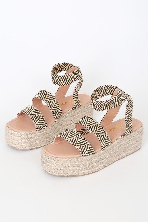 Cute Black and Tan Sandals - Platform