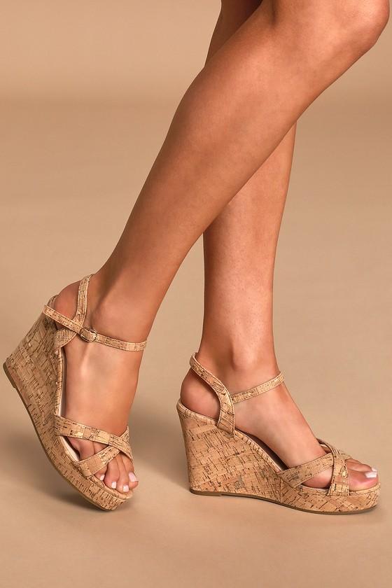 Nixie Cork Wedge Sandals