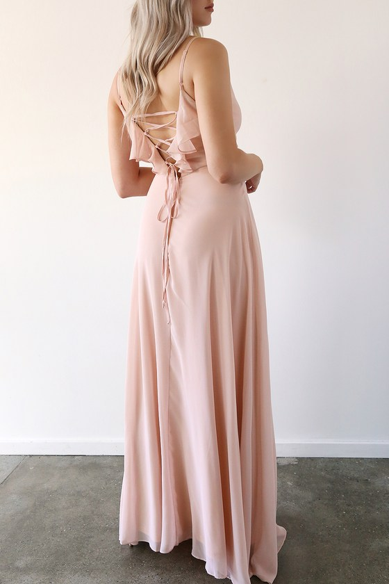 Exquisite Beauty Blush Ruffled Lace-Up Maxi Dress