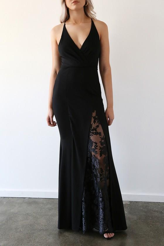 Absolute Allure Black Slit Mermaid Maxi Dress
