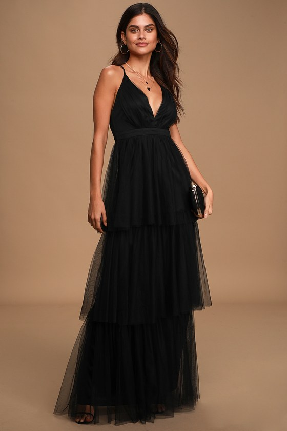 True Beauty Black Backless Tiered Tulle Maxi Dress