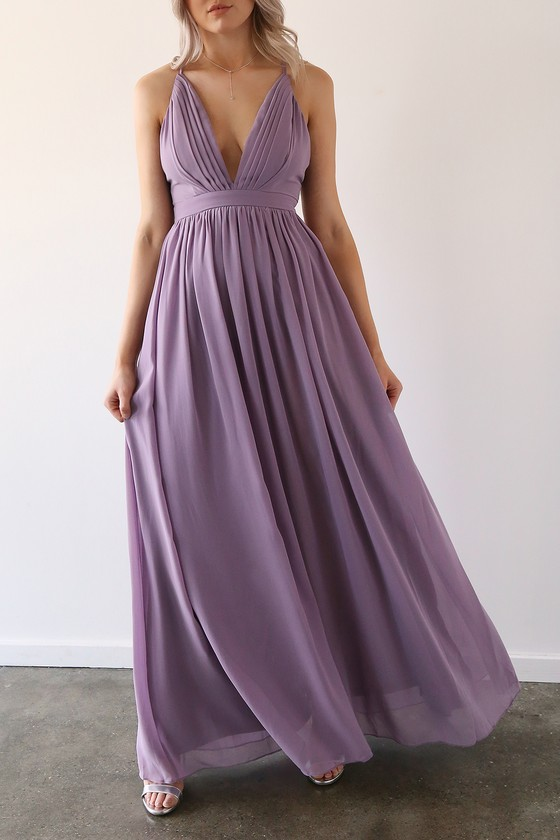 Lovely Lavender Maxi Dress - Backless Maxi Dress - Plunging Gown