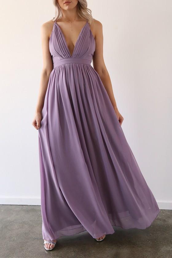 Enchanting Charm Lavender Backless Maxi Dress