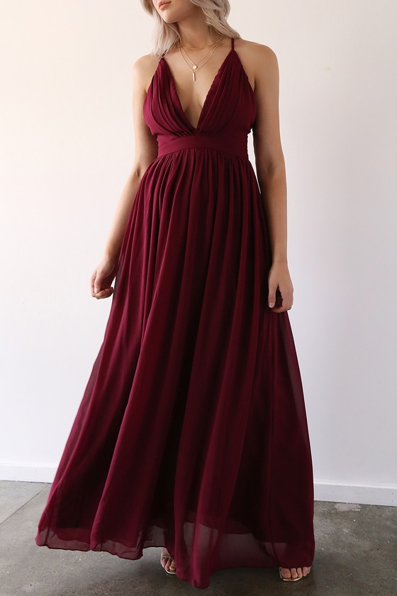Enchanting Charm Burgundy Backless Maxi Dress