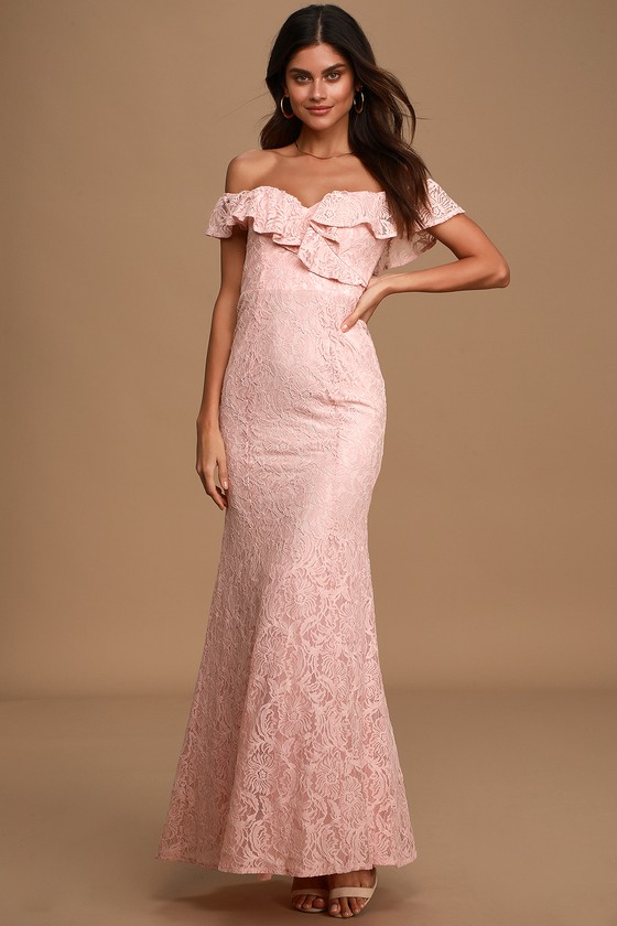 Sweet Interlude Light Blush Lace Off-the-Shoulder Maxi Dress
