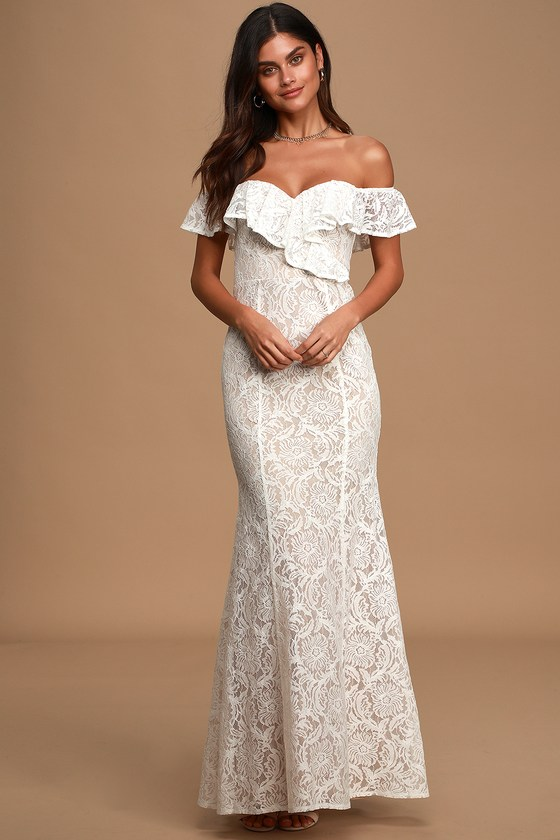Sweet Interlude Ivory Lace Off-the-Shoulder Maxi Dress
