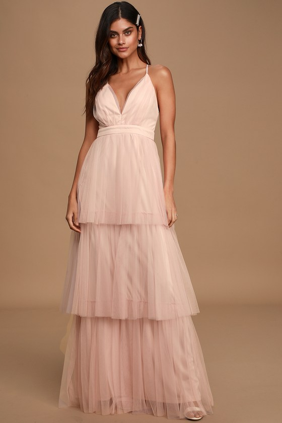 True Beauty Light Blush Backless Tiered Tulle Maxi Dress