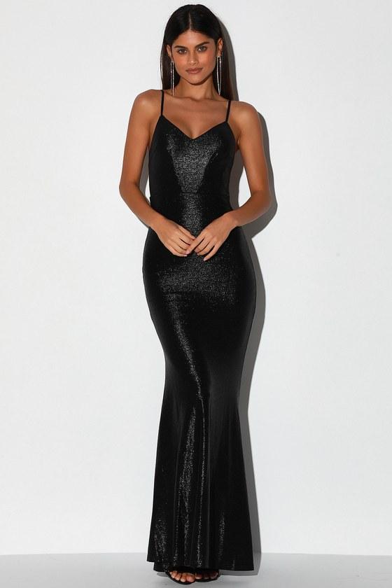 Came to Stun Shiny Black Mermaid Maxi Dress