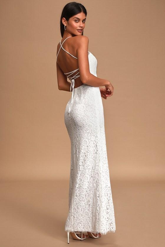Infinite Love Story Ivory Lace Lace-Up Maxi Dress
