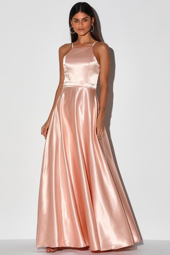 Royalty Rose Gold Satin Maxi Dress