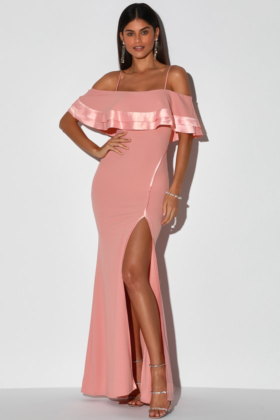 Deeply Loved Dusty Pink Ruffled Off-the-Shoulder Maxi Dress