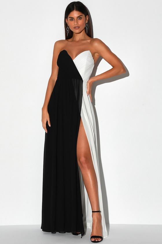 Opera Black and White Color Block Strapless Maxi Dress