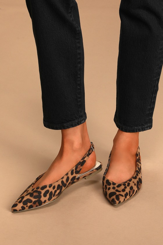 Lulus Exclusive! Stun everyone with every chic step you take in the Lulus Chrystina Leopard Pointed-Toe Slingback Flats! Soft leopard print faux leather shapes these stylish flats with a pointed-toe upper, a round collar, and a slingback silhouette with an elasticized ankle strap. Fit: This garment fits true to size. 0. 25\\\