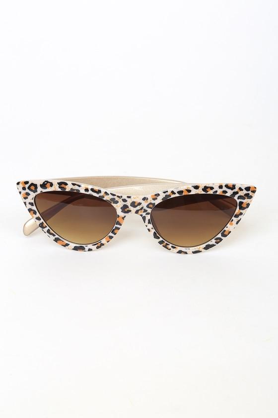 Feline Fancy Beige Leopard Print Cat-Eye Sunglasses