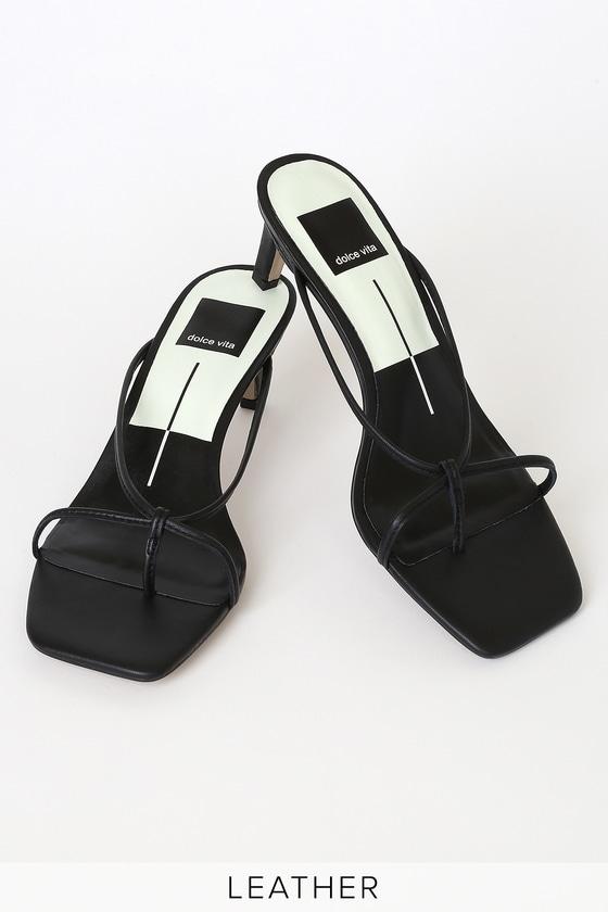 Dolce Vita Kayden Black Leather Strappy High Heel Sandals