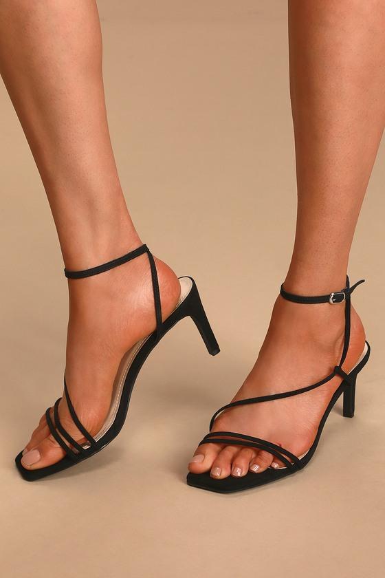 Black Suede Heels - Barely There Heels