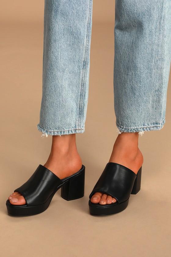 Chic Black Platform Mules - High-Heel