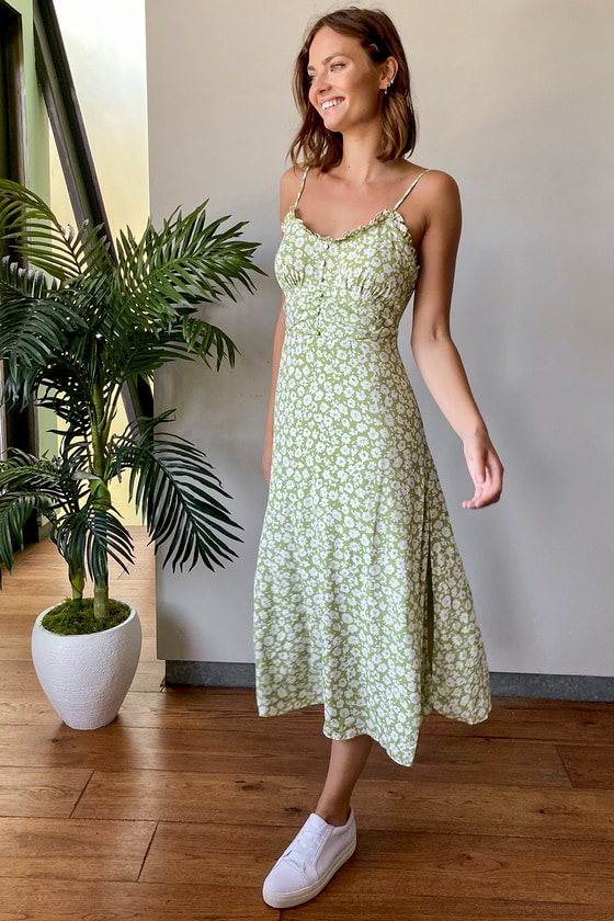 TIMELESS TOUCH GREEN FLORAL PRINT A-LINE MIDI DRESS