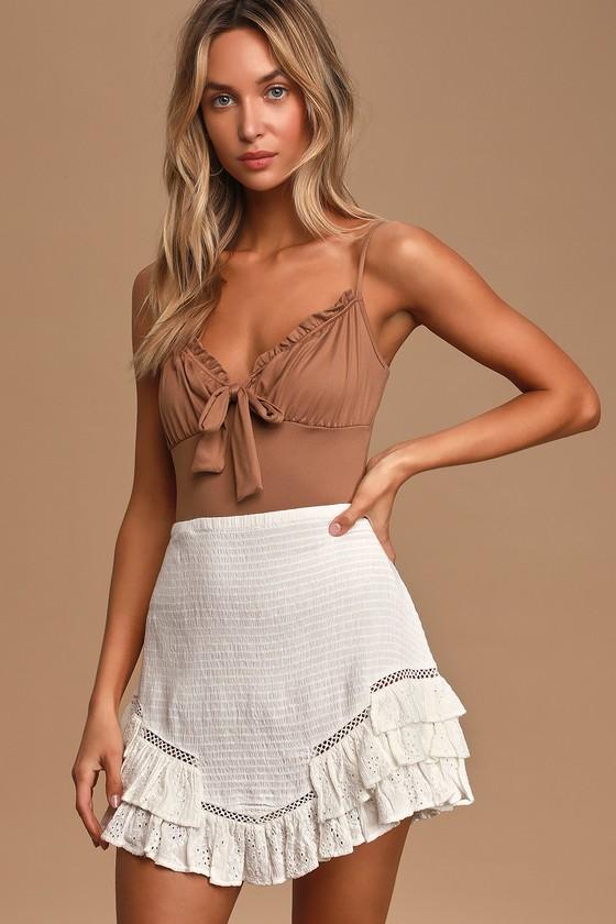 Feminine Charms White Smocked Eyelet Lace Mini Skirt