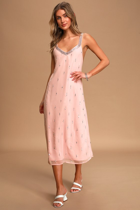 New Adventures Pale Pink Sequin Beaded Backless Midi Dress