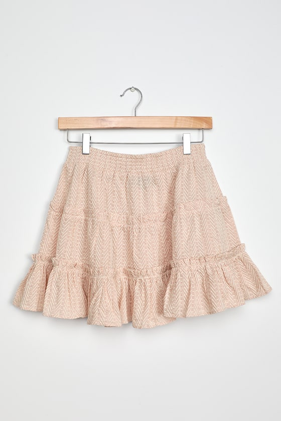 Abryelle Pale Blush Embroidered Ruffle Tiered Mini Skirt