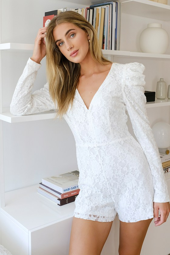 Fashionable Find White Lace Long Sleeve Romper