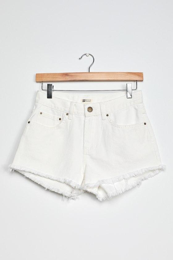 Billabong Drift Away White Denim Cutoff Shorts