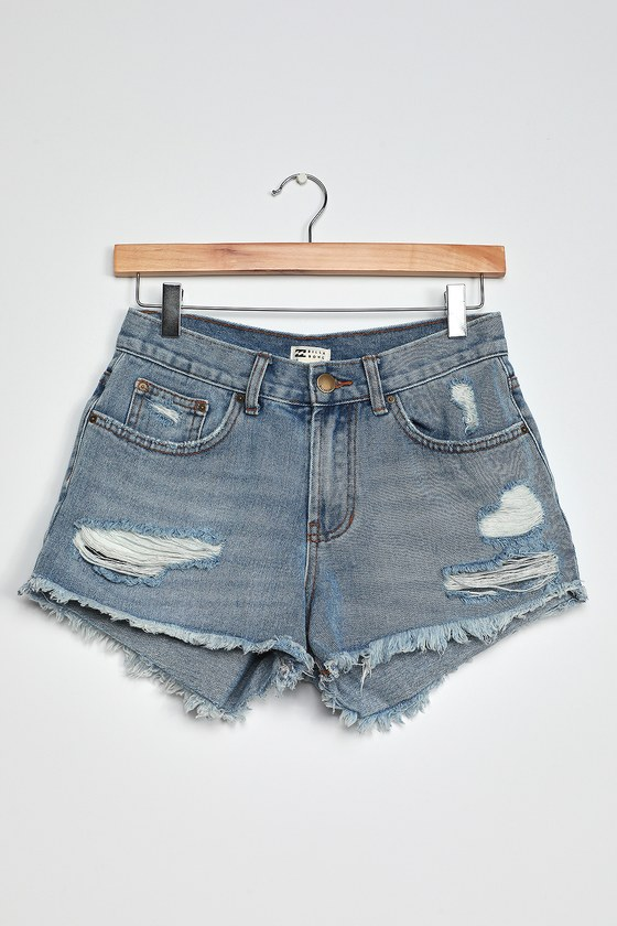 Billabong Drift Away Light Wash Distressed Denim Cutoff Shorts