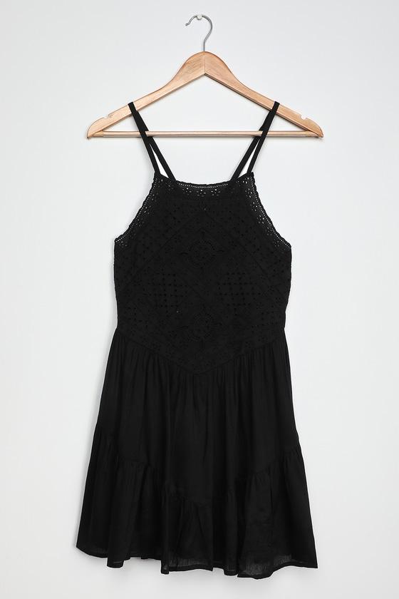 Imagination Black Eyelet Lace Mini Dress