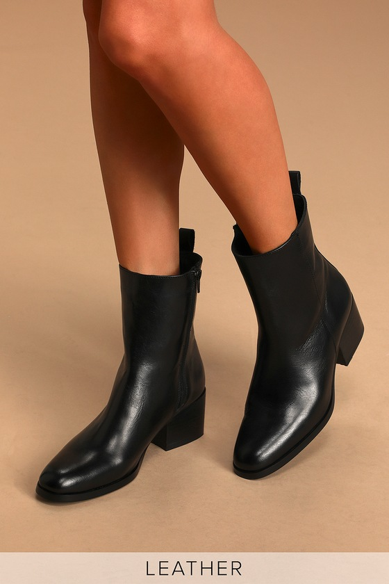 Black Leather Boots - Leather Mid-Calf