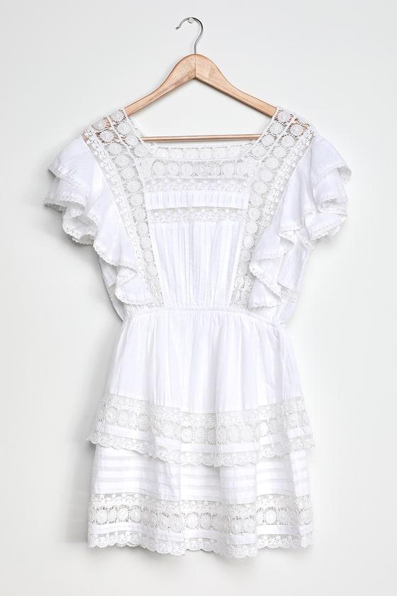 Sunny Smile Ruffled Lace Mini Dress