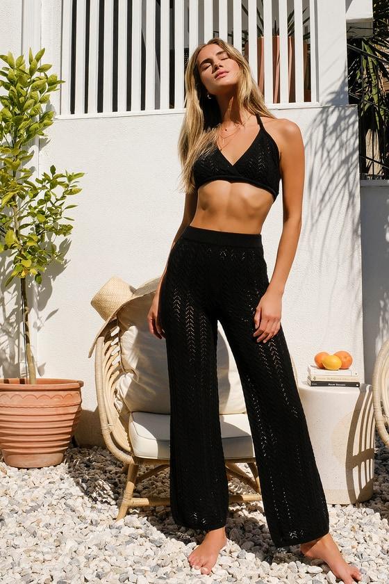 Balmy Breeze Black Crochet High-Waisted Pants