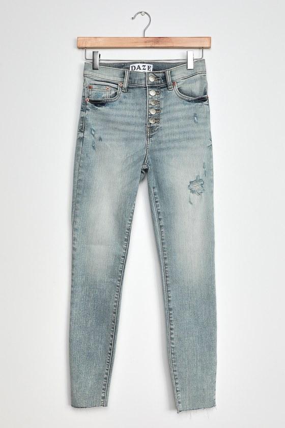 Daze Denim Call You Back Light Blue Distressed High-Rise Skinny Jeans