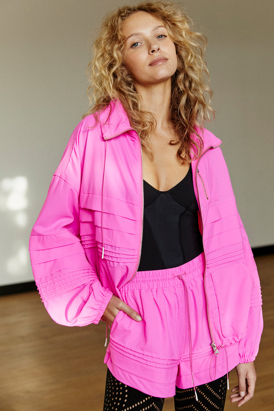 Free People Movement Check It Out Neon Pink Jacket